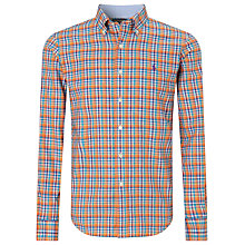Buy Polo Golf by Ralph Lauren Poplin Check Shirt, Orange Online at johnlewis.com