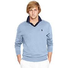 Buy Polo Golf by Ralph Lauren Long Sleeve V-Neck Jumper, Bluebell Online at johnlewis.com