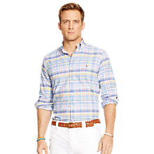 Buy Polo Ralph Lauren Custom Fit Plaid Oxford Shirt, Blue Online at johnlewis.com