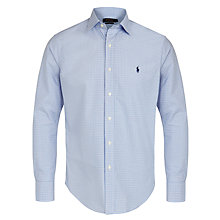 Buy Polo Ralph Lauren Bradford Custom Fit Check Shirt, Blue Online at johnlewis.com