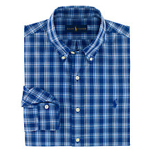 Buy Polo Ralph Lauren Custom Fit Poplin Plaid Shirt, Blue Online at johnlewis.com