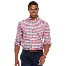 Buy Polo Ralph Lauren Custom Fit Plaid Oxford Shirt, Red Online at johnlewis.com