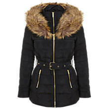 Buy Miss Selfridge Belted Puffa Jacket, Black Online at johnlewis.com