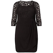 Buy Adrianna Papell Plus Size Rose Flounce Dress, Black Online at johnlewis.com