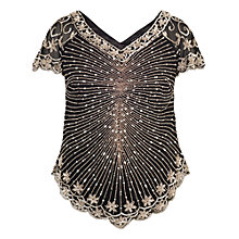Buy Chesca Chevron Gunmetal Beaded Top Online at johnlewis.com