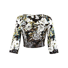 Buy Miss Selfridge Satin Floral Top, Black Online at johnlewis.com