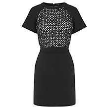 Buy Warehouse Embellished Cutwork Dress, Black Online at johnlewis.com