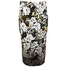 Buy Miss Selfridge Satin Floral Pencil Skirt, Black Online at johnlewis.com