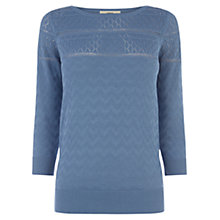 Buy Oasis Pointelle Zig Zag Top, Mid Blue Online at johnlewis.com