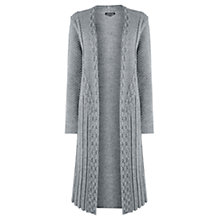 Buy Warehouse Long Cable Cardigan, Light Grey Online at johnlewis.com