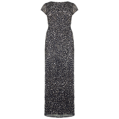 Adrianna Papell Plus Size Scooped Back Long Dress, Charcoal
