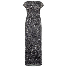Buy Adrianna Papell Plus Size Scooped Back Long Dress, Charcoal Online at johnlewis.com