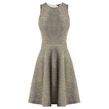 Buy Warehouse Neoprene Cotton Dress, Gold Online at johnlewis.com