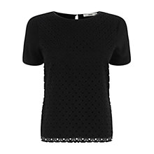 Buy Oasis Broderie Front T-Shirt, Black Online at johnlewis.com