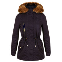 Buy Miss Selfridge Blonde Faux Fur Parka, Navy Online at johnlewis.com