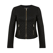 Buy Miss Selfridge Quilted Faux Leather Jacket, Black Online at johnlewis.com