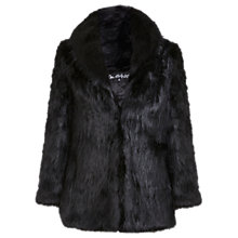 Buy Miss Selfridge Shawl Collar Faux Fur Coat, Black Online at johnlewis.com