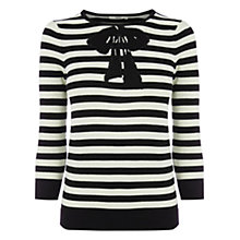 Buy Oasis Belle Bow Stripe Top, Black / White Online at johnlewis.com