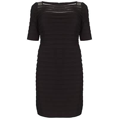 Adrianna Papell Plus Size Partial Tuck Dress, Black