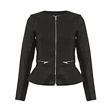 Buy Miss Selfridge Leather Peplum Jacket, Black Online at johnlewis.com