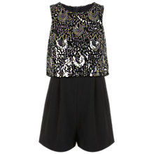 Buy Miss Selfridge Petite Sequin Overlay Playsuit, Black Online at johnlewis.com