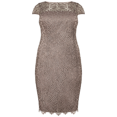 Adrianna Papell Plus Size Lace Shift Dress, Buff