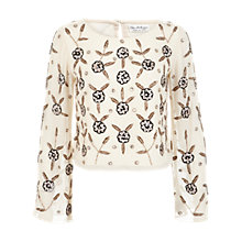 Buy Miss Selfridge Bell Sleeve Embellished Top, Cream Online at johnlewis.com