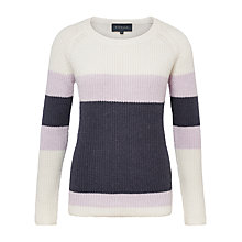 Buy Viyella Colour Block Ribbed Jumper, Ivory Online at johnlewis.com