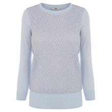 Buy Oasis Lace Front Top, Light Blue Online at johnlewis.com