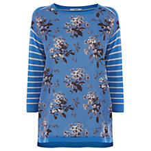 Buy Oasis Stripe Knitted Top, Mid Blue Online at johnlewis.com