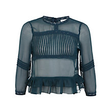 Buy Miss Selfridge Victoriana Blouse, Teal Online at johnlewis.com