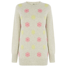 Buy Oasis Snowflake Jumper, Pale Grey Online at johnlewis.com
