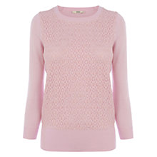 Buy Oasis Lace Front Jumper, Pale Pink Online at johnlewis.com