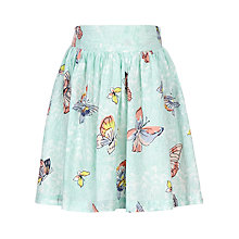 Buy John Lewis Girl Butterfly Print Skirt, Aqua Online at johnlewis.com