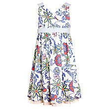 Buy John Lewis Girl Floral Print Cross Over Dress, White/Multi Online at johnlewis.com
