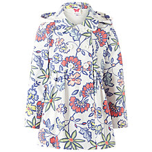 Buy John Lewis Girl Floral Print Showerproof Raincoat, White/Multi Online at johnlewis.com