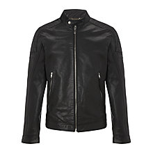 Buy Diesel L-Monike Leather Jacket, Black Online at johnlewis.com