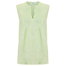 Buy John Lewis Sleeveless Linen Palm Print Pintuck Top Online at johnlewis.com