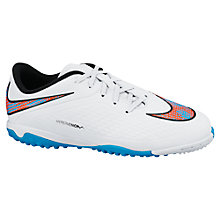 Buy Nike Children's Hyper Venom TF Football Trainers, White/Blue Online at johnlewis.com