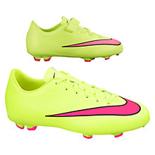 Buy Nike Mercurial Victory V Firm Ground Football Boots, Neon Green/Orange Online at johnlewis.com