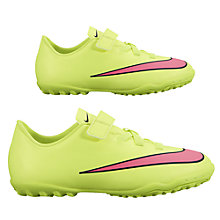 Buy Nike Mercurial Victory V Turf Football Boots, Neon Green/Orange Online at johnlewis.com
