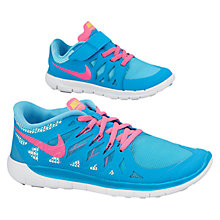 Buy Nike Children's Run Free Trainers, Blue/Pink Online at johnlewis.com