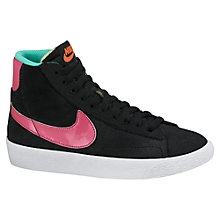 Buy Nike Blazer Mid Vintage High-Top Trainers, Black/Pink Online at johnlewis.com