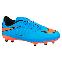 Buy Nike Children's Hyper Venom FG Football Trainers, Blue/Red Online at johnlewis.com