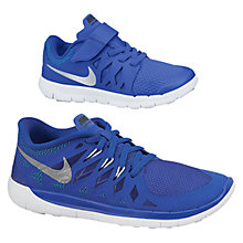 Buy Nike Children's Free-Run Trainers, Blue/Silver Online at johnlewis.com