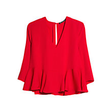 Buy Mango Fluted Hem Blouse, Bright Red Online at johnlewis.com