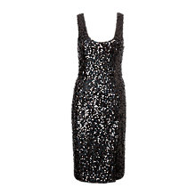 Buy French Connection Cosmic Sparkle Midi Dress, Black Hologram Online at johnlewis.com