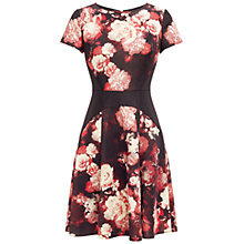 Buy Adrianna Papell Printed Scuba Colour Block Dress, Black / Red Online at johnlewis.com