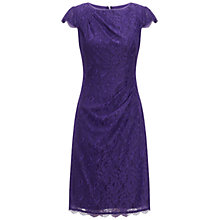Buy Adrianna Papell Pleat Detail Lace Sheath Dress, Dark Purple Online at johnlewis.com