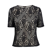 Buy Warehouse Lace T-Shirt, Black Online at johnlewis.com